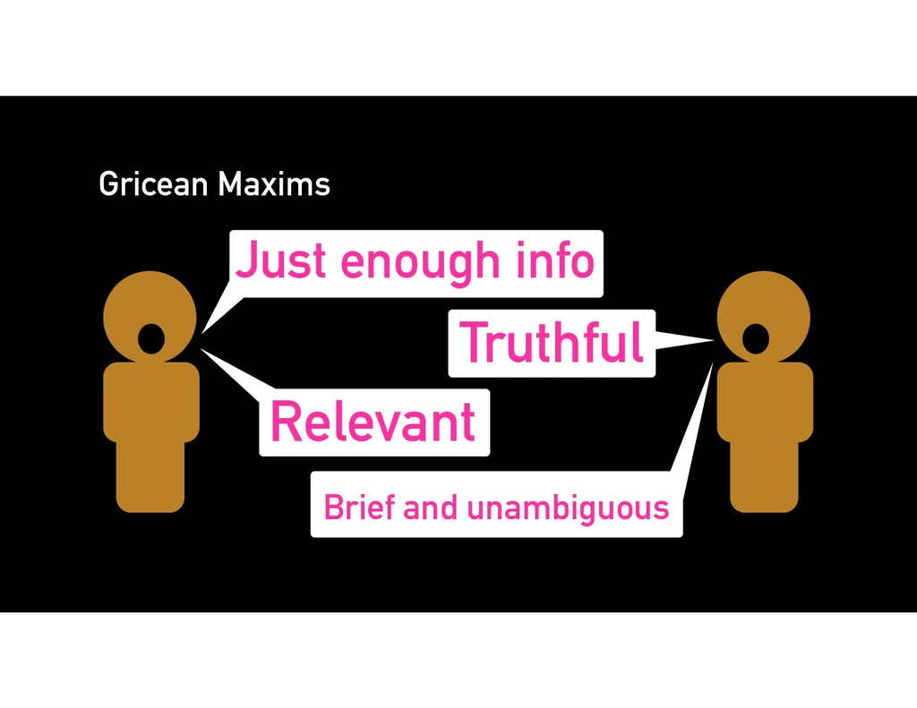 Gricean Maxims Just enough info Truthful Releva...