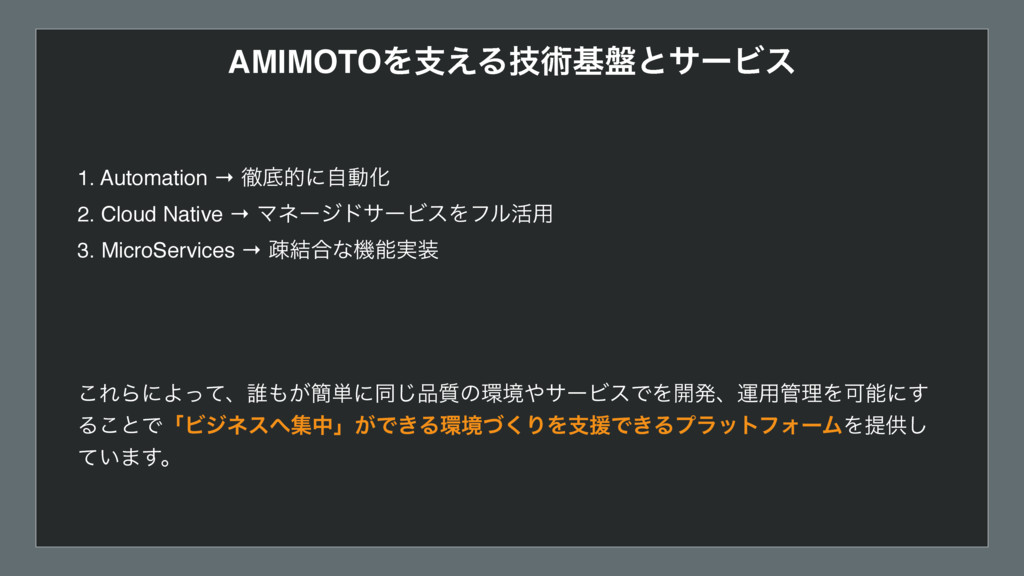 AMIMOTOΛࢧ͑Δٕज़ج൫ͱαʔϏε 1. Automation → పఈతʹࣗಈԽ 2....