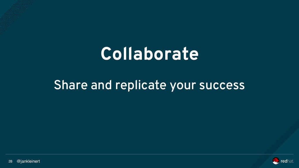 @jankleinert 28 Collaborate Share and replicate...