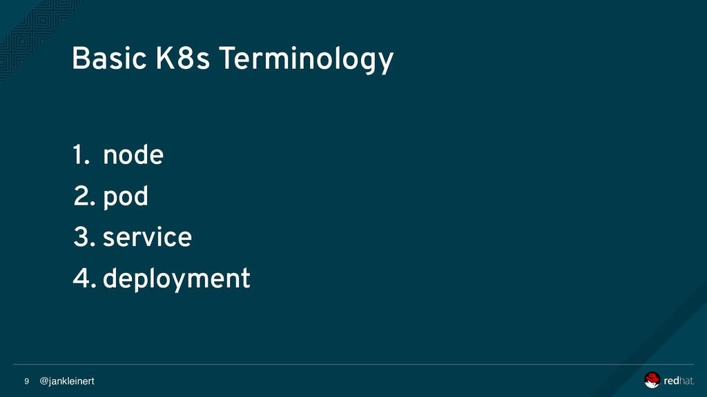 @jankleinert 9 Basic K8s Terminology 1. node 2....