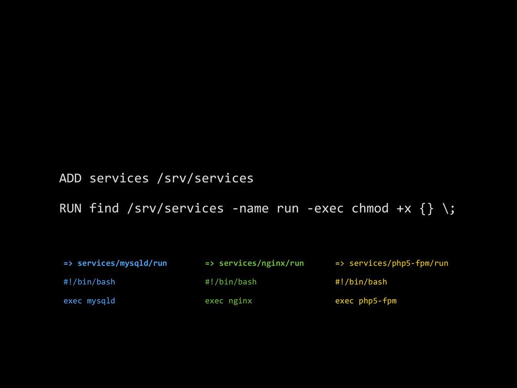 ADD services /srv/services  RUN fin...