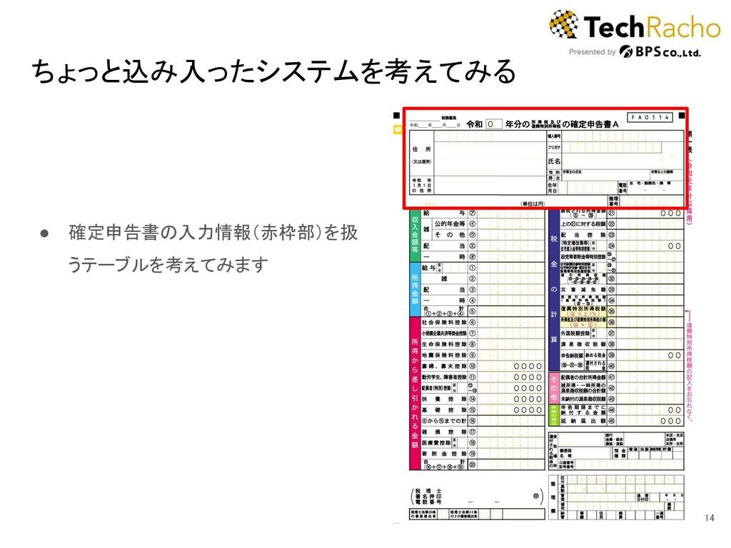 ちょっと込み入ったシステムを考えてみる 14 ● 確定申告書の入力情報(赤枠部)を扱 うテ...