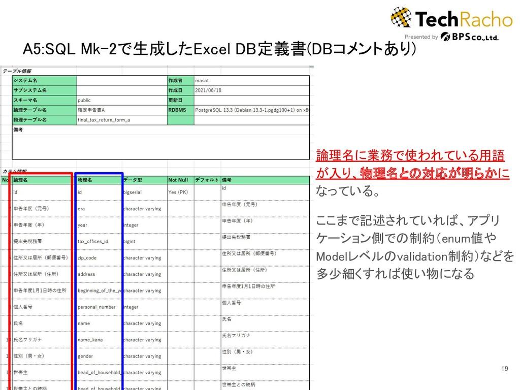 A5:SQL Mk-2で生成したExcel DB定義書(DBコメントあり) 19 論理名に...