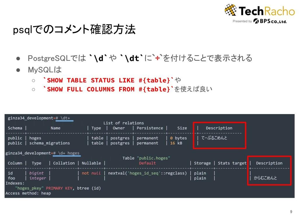 psqlでのコメント確認方法 ● PostgreSQLでは `\d`や `\dt`に`+`を...
