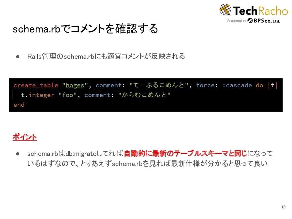schema.rbでコメントを確認する ● Rails管理のschema.rbにも適宜コメン...