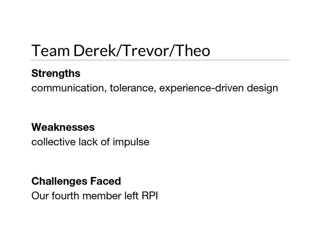 Team Derek/Trevor/Theo Strengths communication,...