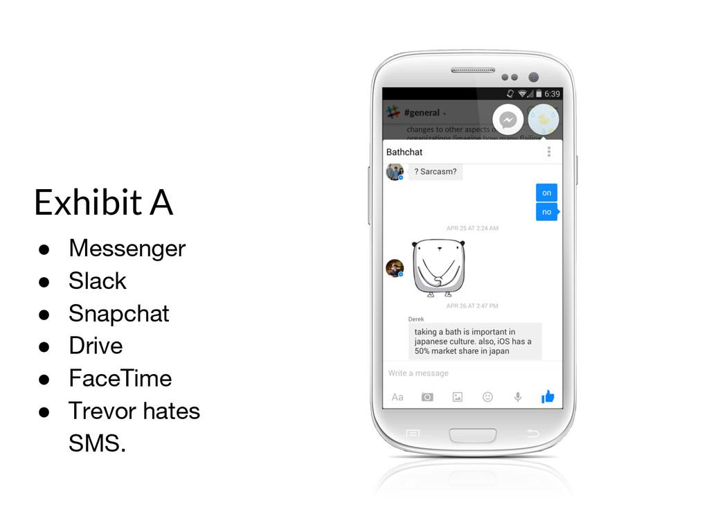 Exhibit A ● Messenger ● Slack ● Snapchat ● Driv...