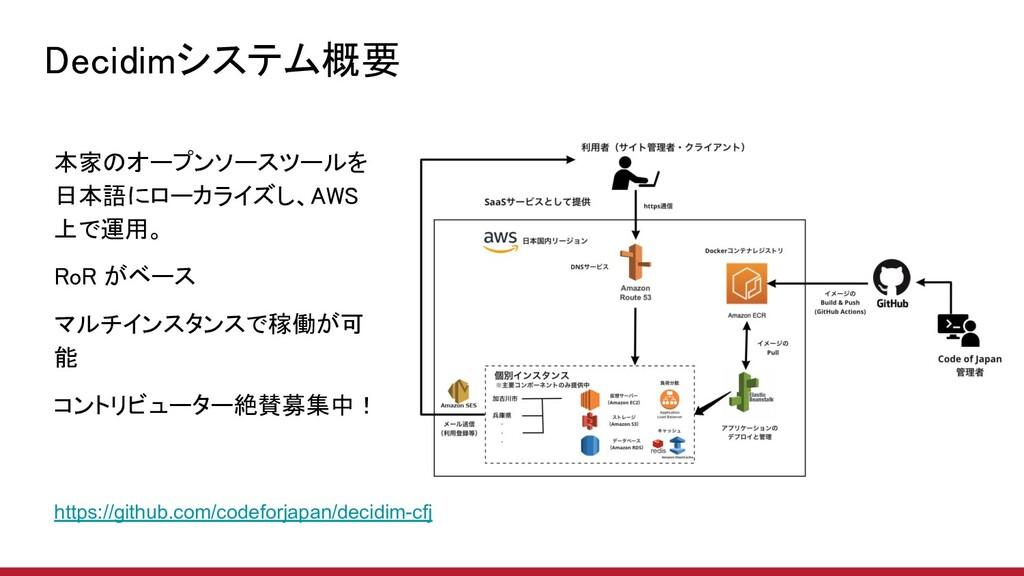 Decidimシステム概要 本家のオープンソースツールを 日本語にローカライズし、AWS 上...
