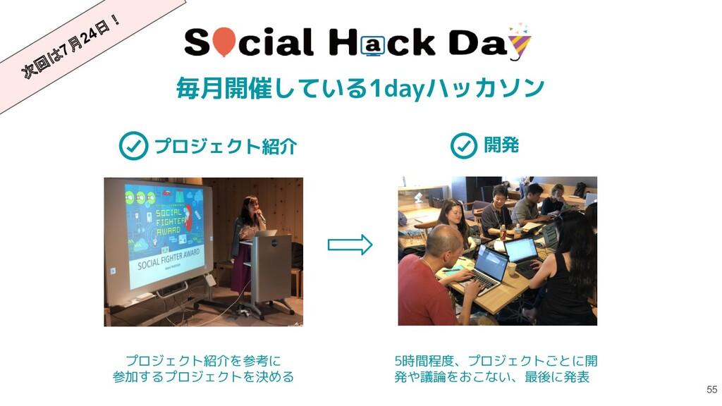 55 毎月開催している1dayハッカソン プロジェクト紹介 プロジェクト紹介を参考に 参加する...