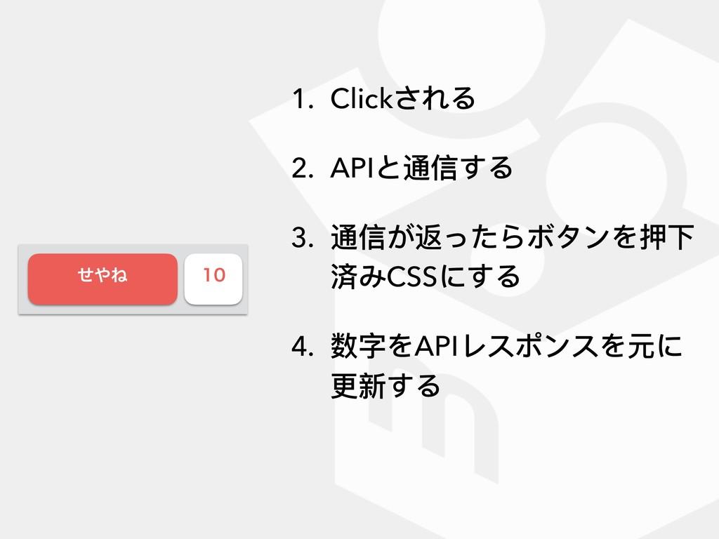 ͤͶ  1. Clickされる 2. APIと通信する 3. 通信が返ったらボタンを押下...