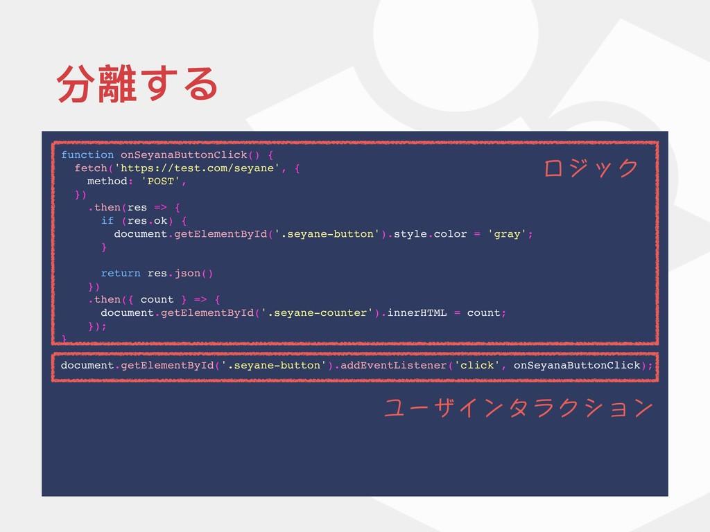 分離する function onSeyanaButtonClick() { fetch('ht...