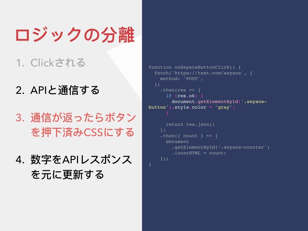 ロジックの分離 function onSeyanaButtonClick() { fetch(...