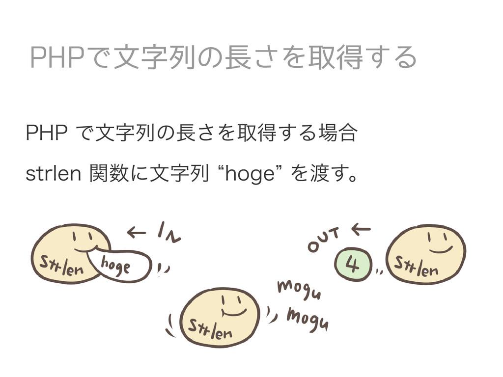 """PHP で文字列の長さを取得する場合 strlen 関数に文字列 """"hoge"""" を渡す。 PH..."""