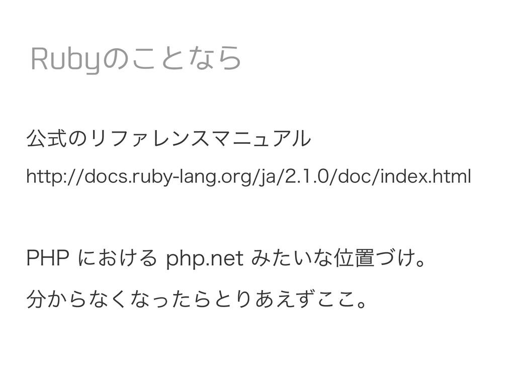 公式のリファレンスマニュアル http://docs.ruby-lang.org/ja/2.1...