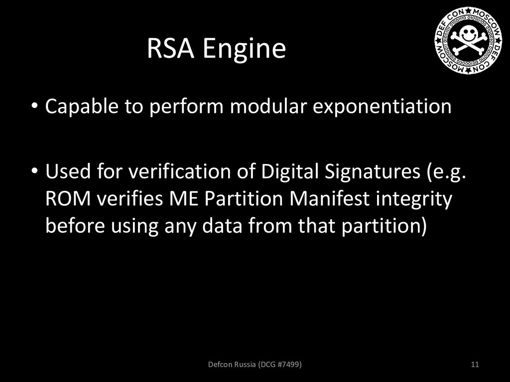 RSA Engine • Capable to perform modular exponen...