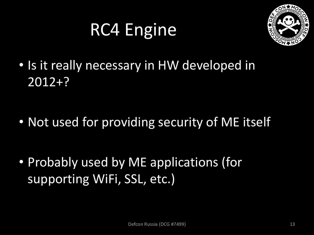 RC4 Engine • Is it really necessary in HW devel...