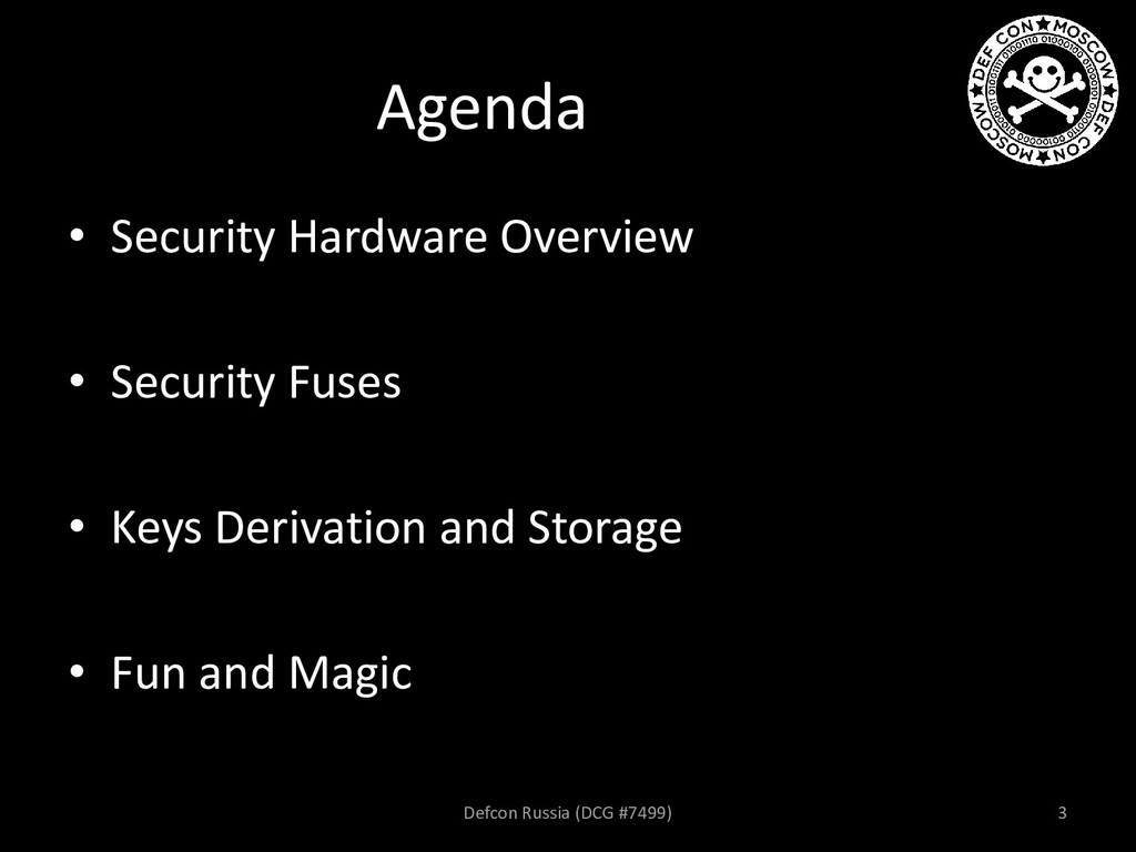 Agenda • Security Hardware Overview • Security ...