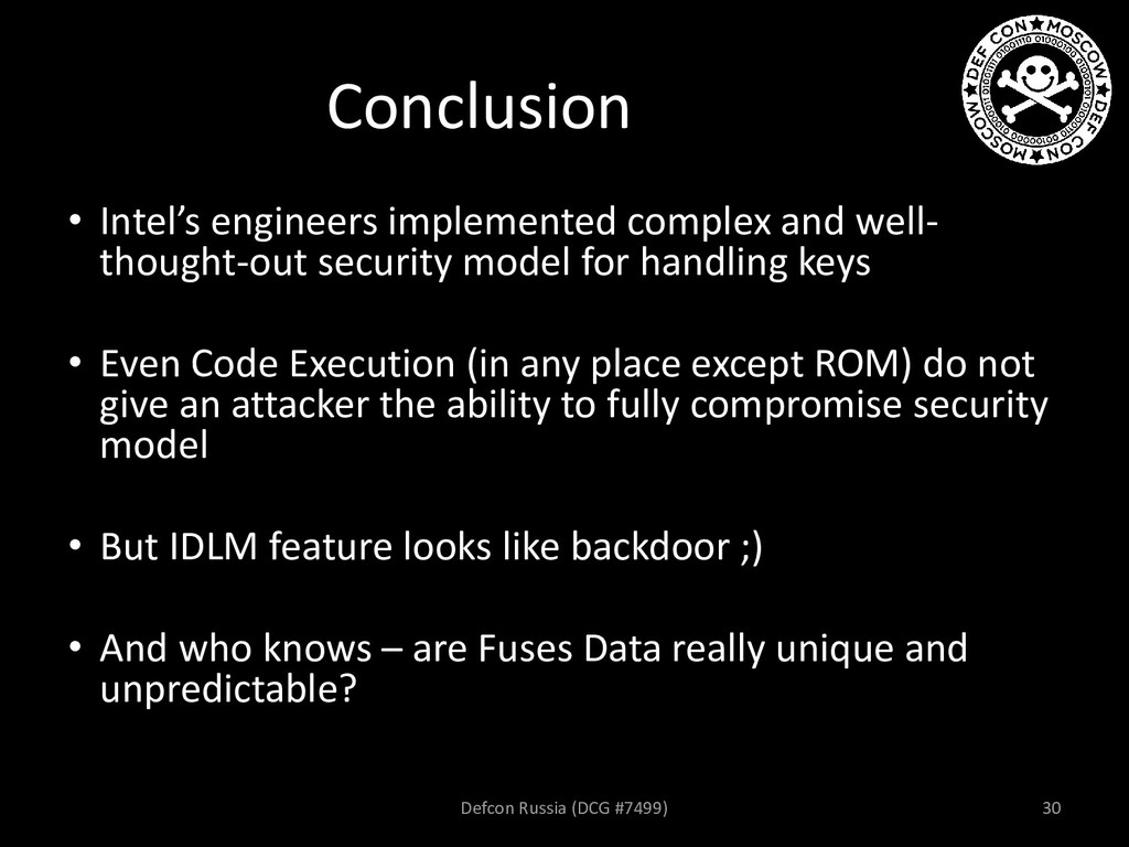 Conclusion • Intel's engineers implemented comp...