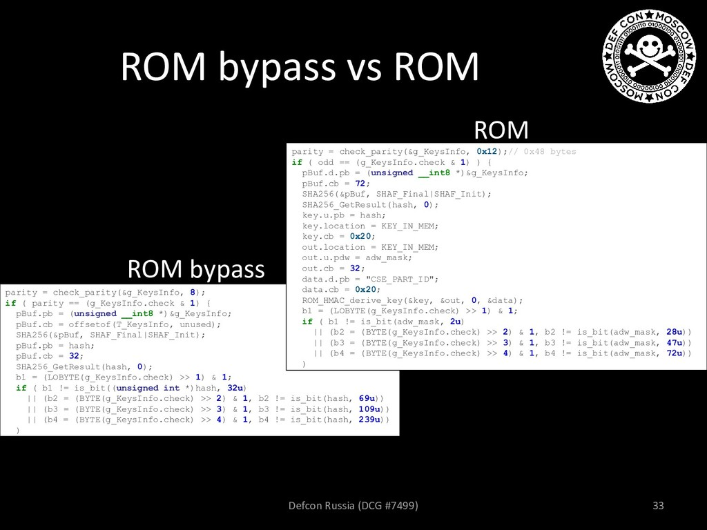 ROM bypass vs ROM ROM bypass ROM parity = check...