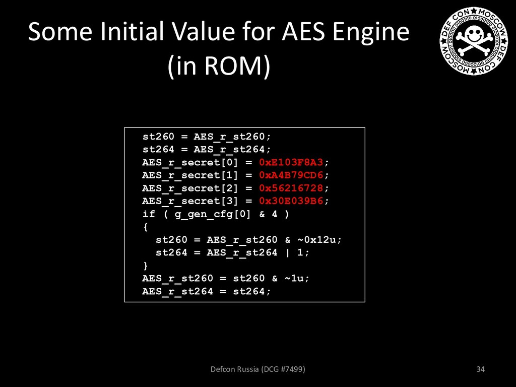 Some Initial Value for AES Engine (in ROM) Defc...