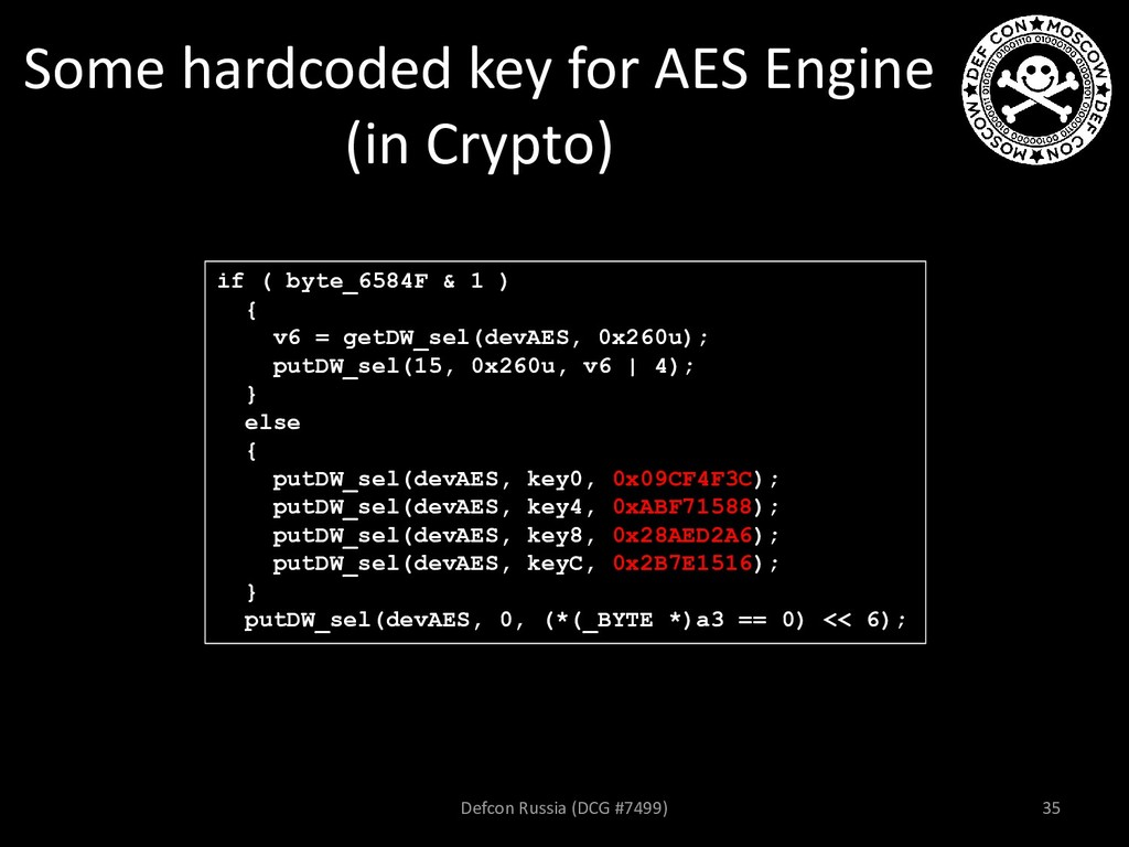 Some hardcoded key for AES Engine (in Crypto) i...