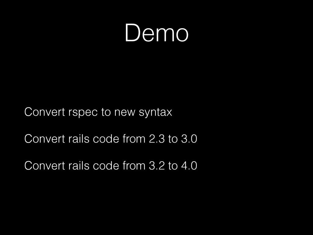 Demo Convert rspec to new syntax Convert rails ...