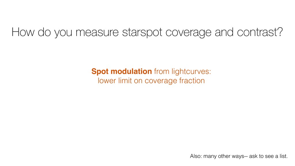How do you measure starspot coverage and contra...