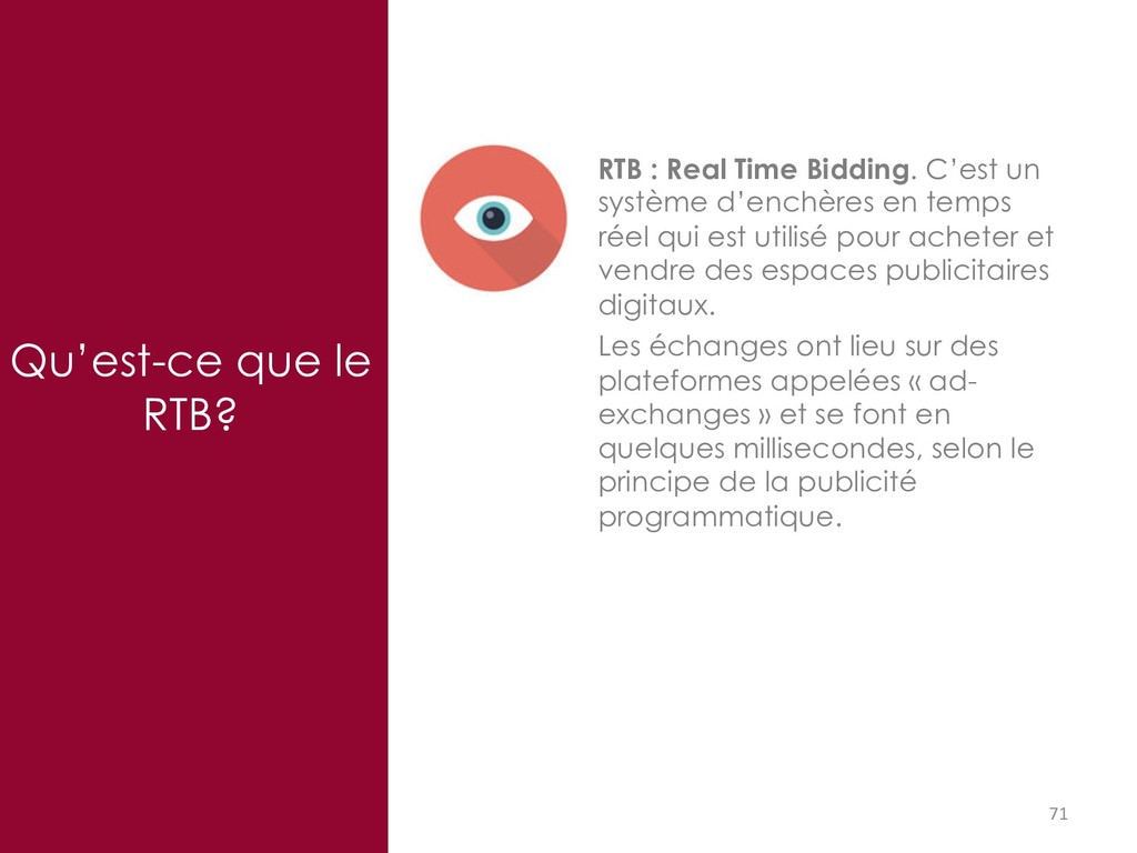 71 Qu'est-ce que le RTB? RTB : Real Time Biddin...