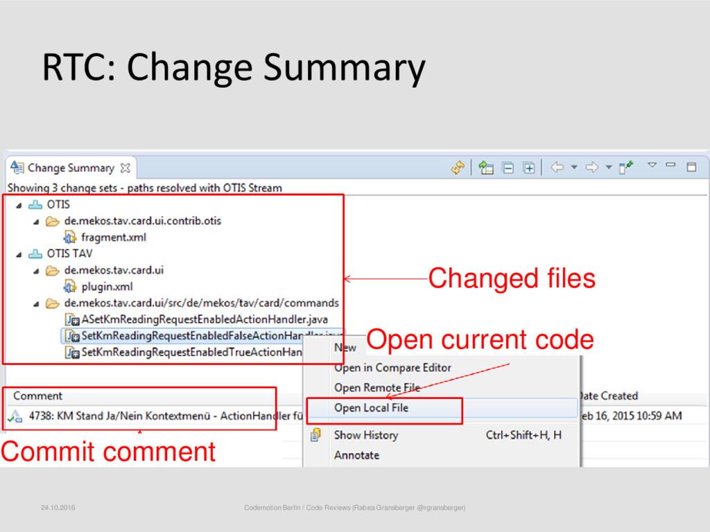 RTC: Change Summary 24.10.2016 Codemotion Berli...