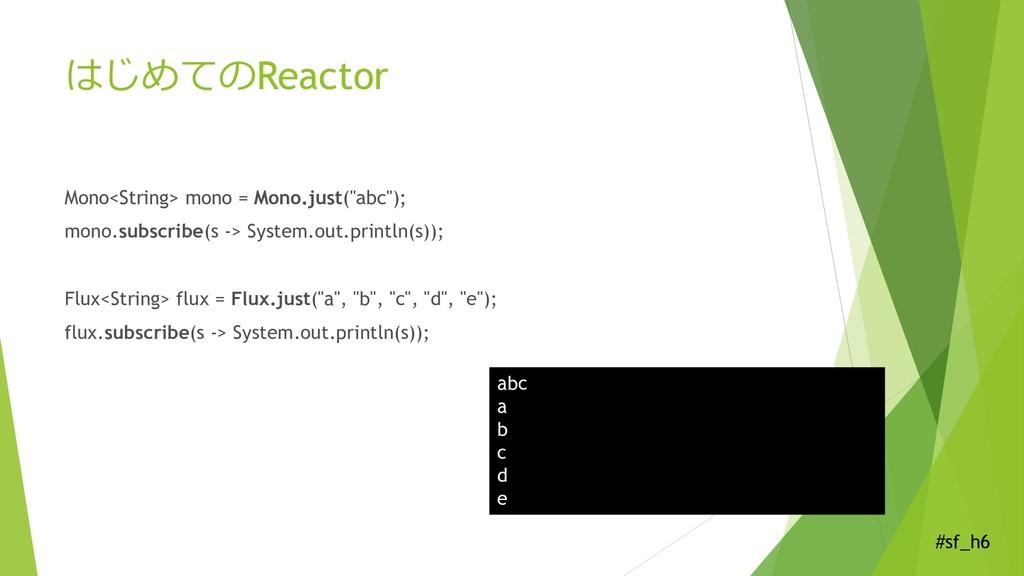 #sf_h6 はじめてのReactor Mono<String> mono = Mono.ju...