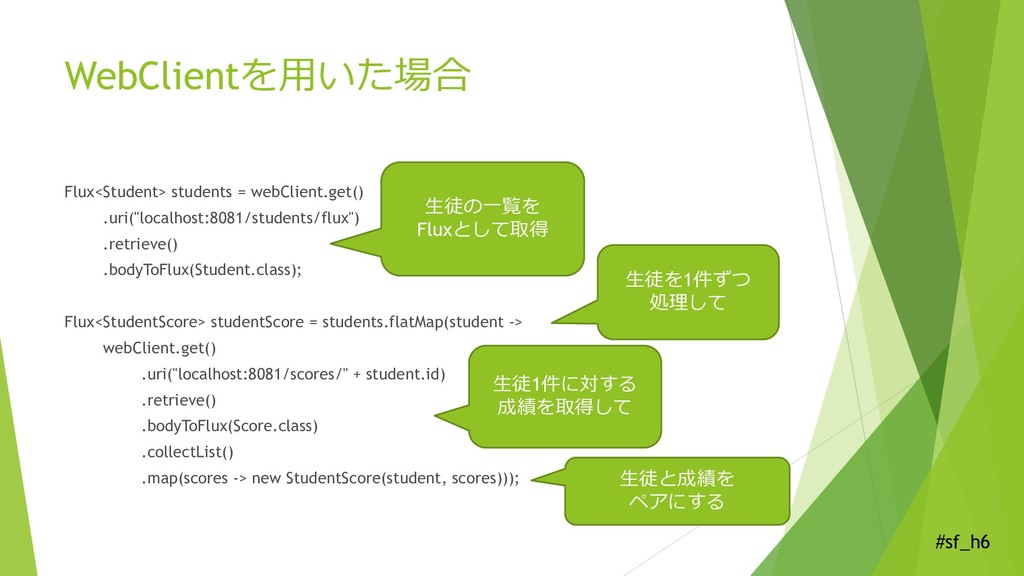 #sf_h6 WebClientを用いた場合 Flux<Student> students =...