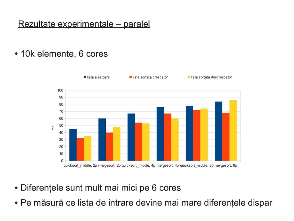 Rezultate experimentale – paralel ● 10k element...