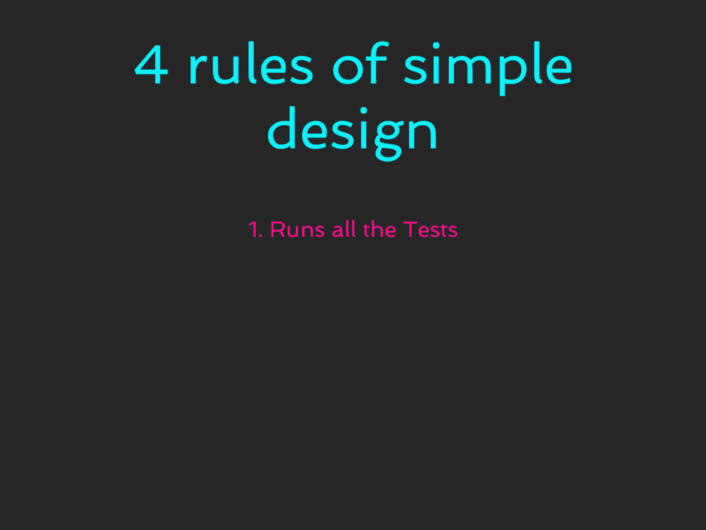 4 rules of simple design 1. Runs all the Tests