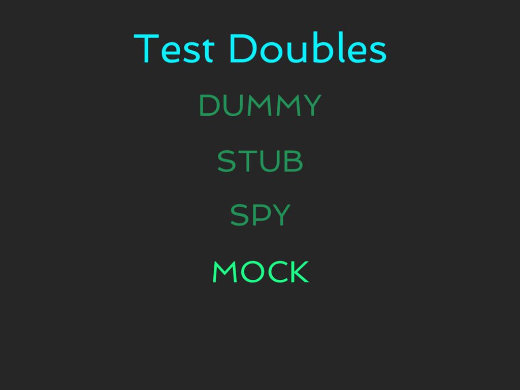 Test Doubles DUMMY STUB SPY MOCK