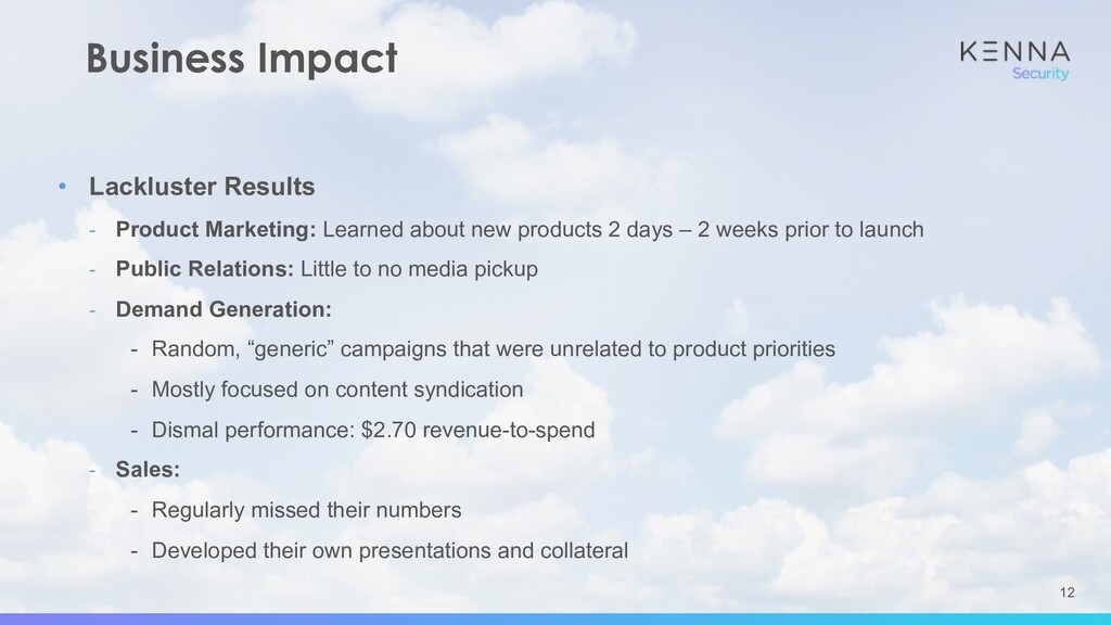 12 Business Impact • Lackluster Results - Produ...