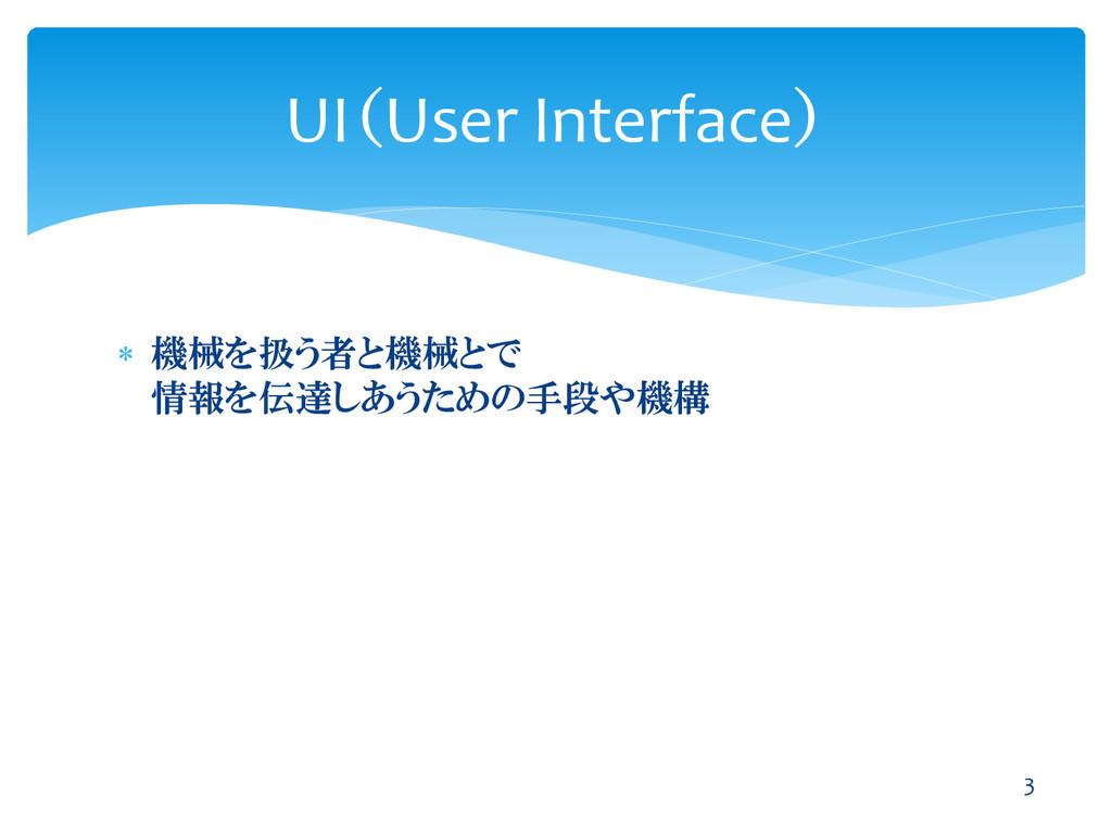  機械を扱う者と機械とで 情報を伝達しあうための手段や機構 UI(User Interfac...