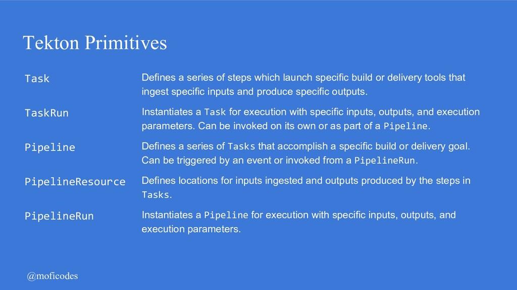 @moficodes Tekton Primitives Task Defines a ser...