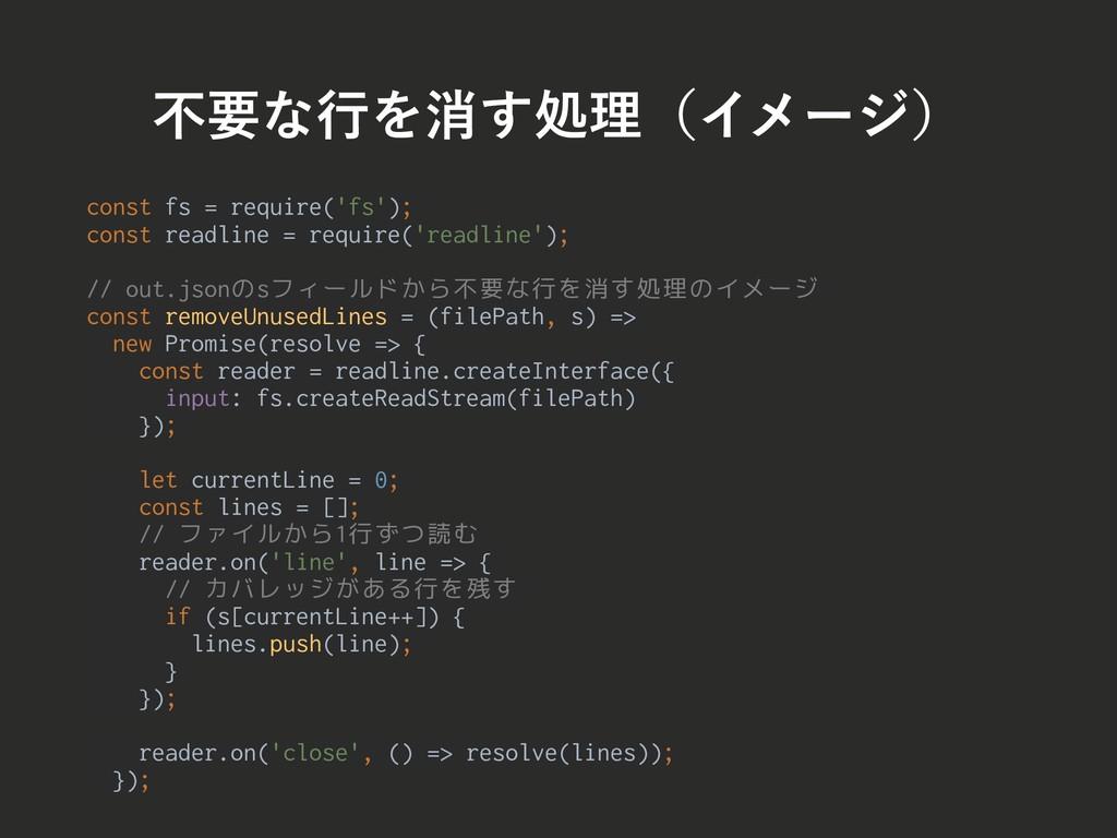 ෆཁͳߦΛফ͢ॲཧʢΠϝʔδʣ const fs = require('fs'); const...