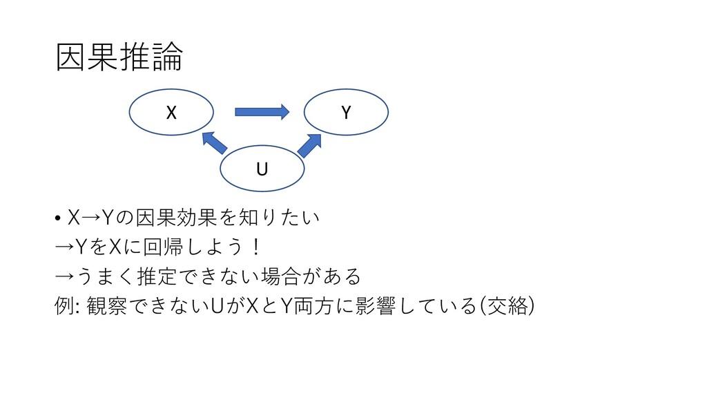 因果推論 • X→Yの因果効果を知りたい →YをXに回帰しよう! →うまく推定できない場合があ...