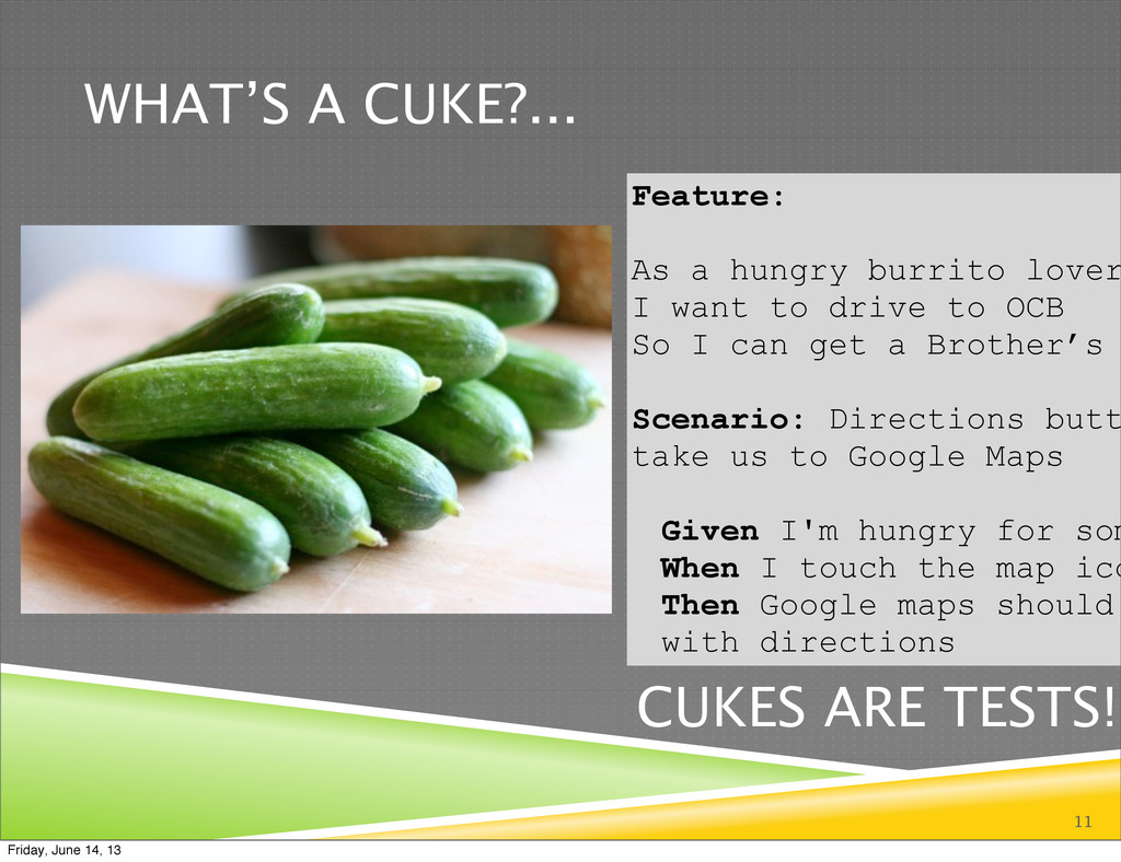 WHAT'S A CUKE?... 11 Feature: As a hungry burri...