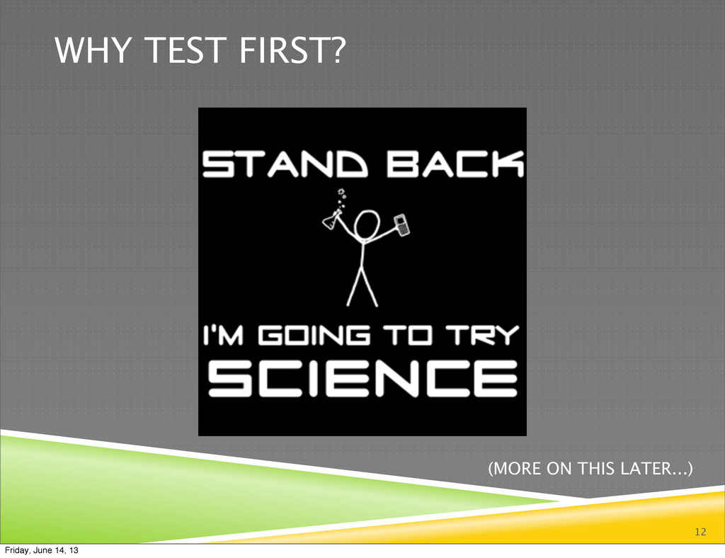WHY TEST FIRST? 12 (MORE ON THIS LATER...) Frid...