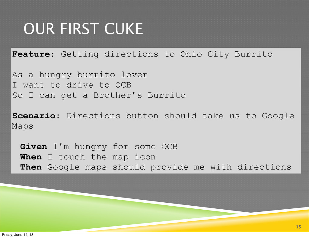 OUR FIRST CUKE 15 Feature: Getting directions t...