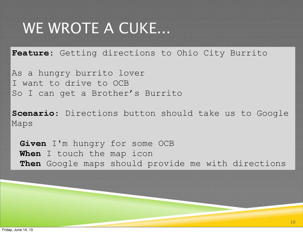 WE WROTE A CUKE... 10 Feature: Getting directio...