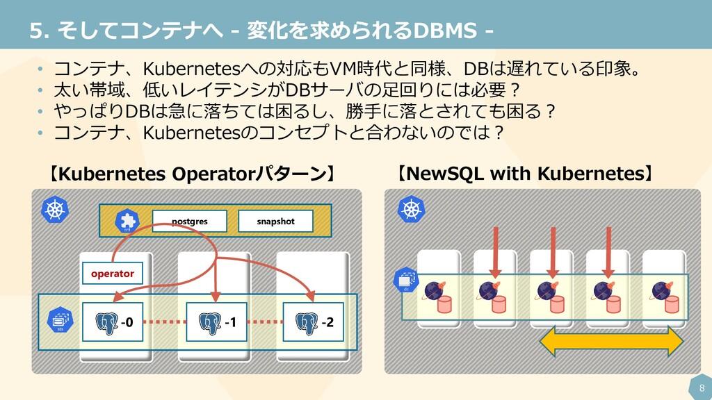 8 そしてコンテナへ - 変化を求められるDBMS - 5. • コンテナ、Kubernete...