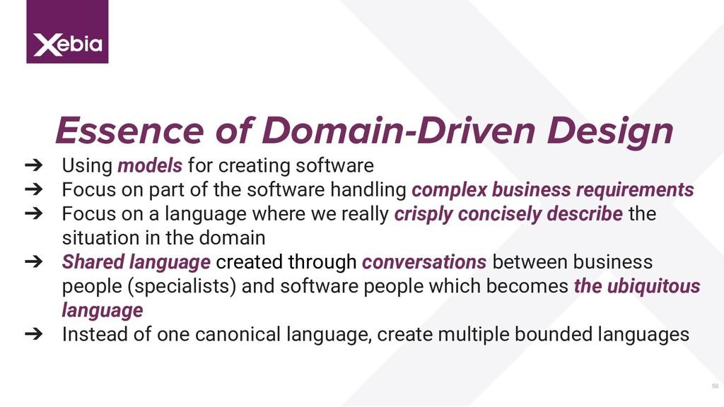 56 Essence of Domain-Driven Design ➔ Using mode...