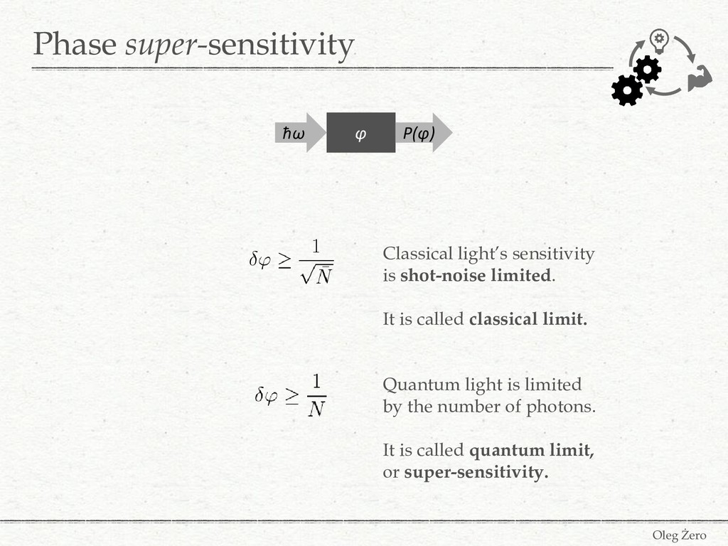 Phase super-sensitivity Oleg Żero ħω P(φ) φ Cla...