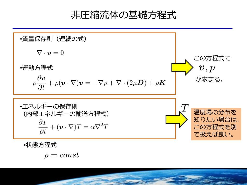 非圧縮流体の基礎方程式 •エネルギーの保存則 (内部エネルギーの輸送方程式) •質量保存則(連...