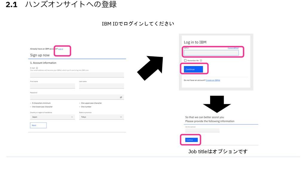 2.1 ϋϯζΦϯαΠτͷొ IBM IDでログインしてください Job titleはオプ...