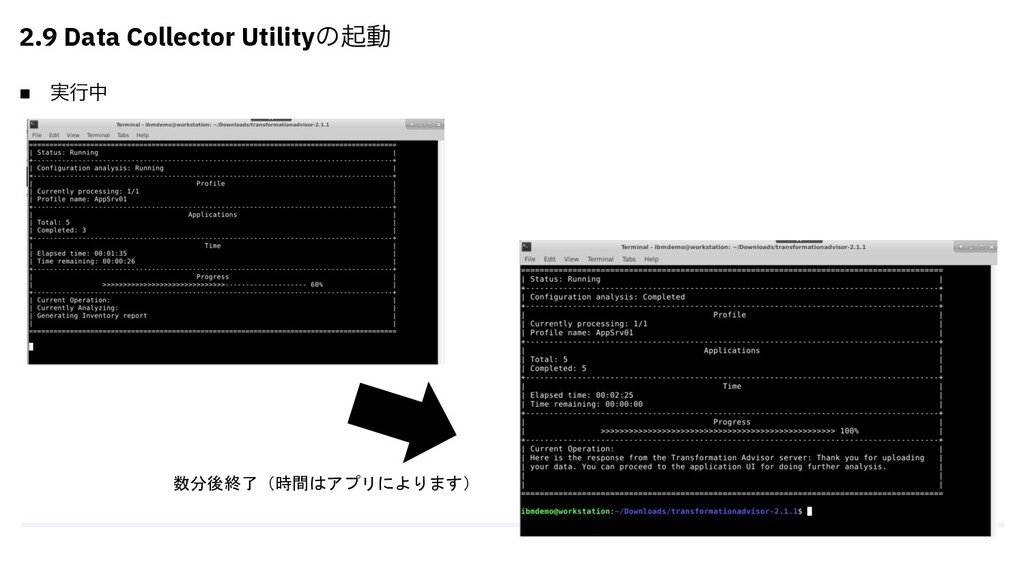 n ࣮ߦத 2.9 Data Collector Utilityͷىಈ 数分後終了(時間はアプ...
