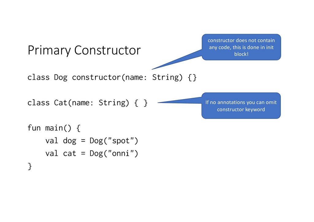 Primary Constructor class Dog constructor(name:...